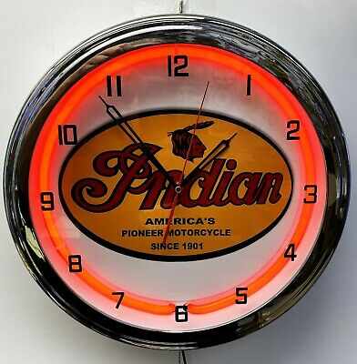 """16"""" INDIAN Motorcycle Since 1901 Old Sign Red Neon Clock"""