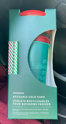Starbucks Holiday Reusable Cold Cups & Straws Package Of 5 Christmas 2019