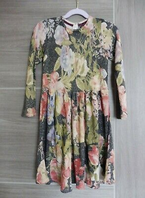 M&S marks & spencer Autograph girls sparkly floral knitted dress 5 6 7 party