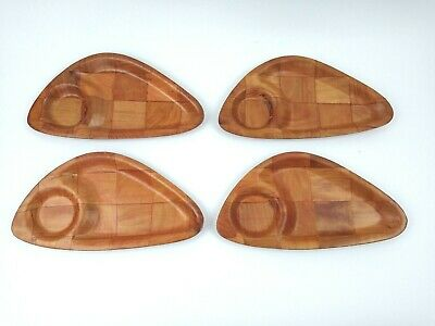 Set of 4 Vintage Mid Century Woven Parquet Wood Atomic Snack Serving Trays