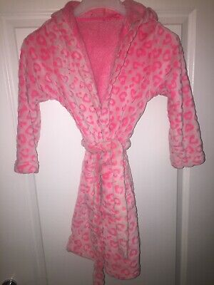 Marks And Spencer Pink Girls Heart Design Dressing Gown Aged 7-8