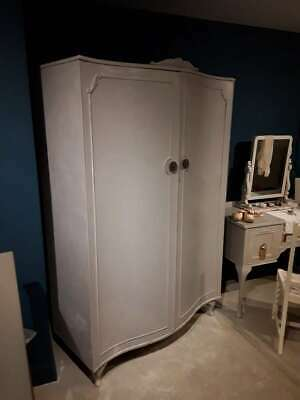 Beautiful Painted Double Vintage Breakdown Wardrobe in Annie Sloan 'Chicago Grey