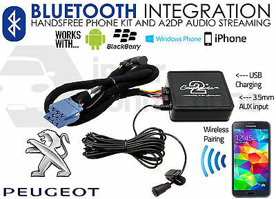 Peugeot 206 307 406 407 607 807 Bluetooth Adaptateur Streaming Appels Voiture