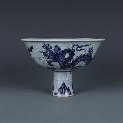 Nice Chinese Antique Ming Blue&white Porcelain Dragon High foot bowl