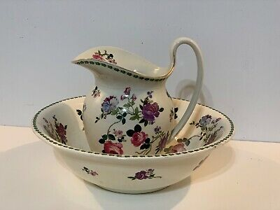 Vintage Cauldon Porcelain Water Pitcher and Basin with Floral Decorations