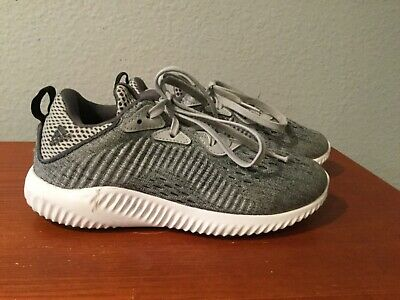 Adidas Alphabounce Bounce Running Shoes White Gray Black Kids Youth Size 1