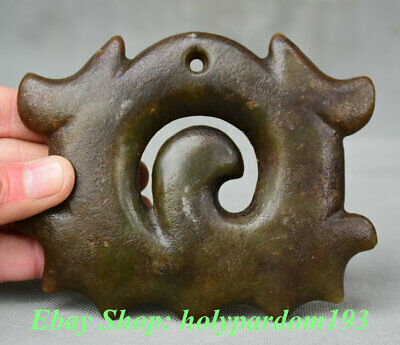 """4"""" Collect Chinese HongShan Culture Old Jade Carving Totem Pendants Sculpture"""