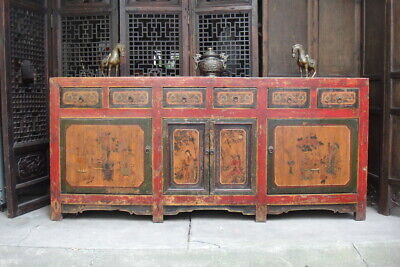 Antique 19C Oriental Chinese Asian Elm Sideboard *Original *Cabinet *Buffet Unit