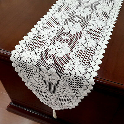 """White Vintage Lace Table Runner Dresser Scarf Oval Doilies Wedding Decor 12""""x59"""""""