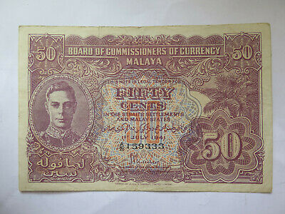 1941 BOARD of COMMISSIONERS of CURRENCY 50 CENTS BANKNOTE EXCELLENT CONDITION