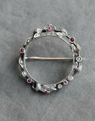 Ancienne Broche Argent Perle Grenat Antique Victorian Brooch Sterling Silver