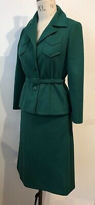 VINTAGE 1960's EASTEX EMERALD GREEN SAFARI STYLE 2pc SUIT SZ10