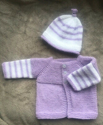 Hand knitted Handmade Baby Matinee Set Coat Hat - 0-3 Months Lilac And White