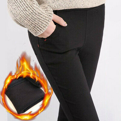 Women Warm Fleece Lined Trousers Leggings Thermal High Waist Stretch Trousers