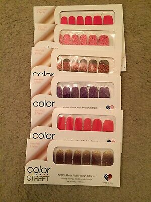 Lot of 6 Sets - COLOR STREET 100% Real Nail Polish Strips Glitter Solid