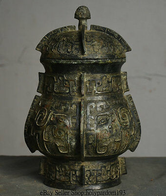 """10"""" Old Chinese Bronze Ware Dynasty Palace Beast Head Face Pot Jar Crock Vessels"""