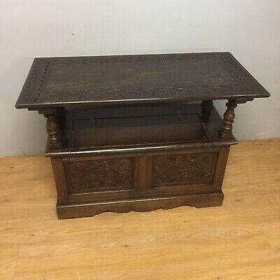 Victorian Carved Solid Oak Monks Bench