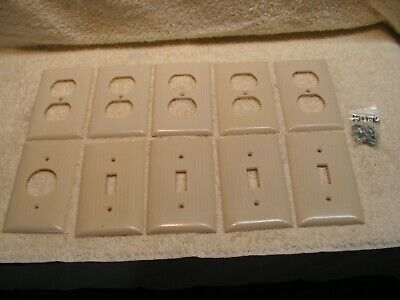 Vintage 10 Sierra Ivory Ribbed MIxed Switch Cover Plates with 16 Screws.