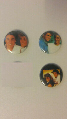 George Michael Andrew Ridgeley Wham artist music SMALL buttons vintage set 3