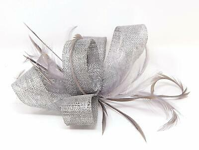 Pewter grey fascinator on a clip, comb and Alice band