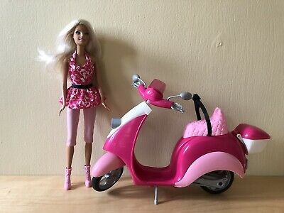 Mattel Barbie Pink Moped Scooter With Barbie Doll