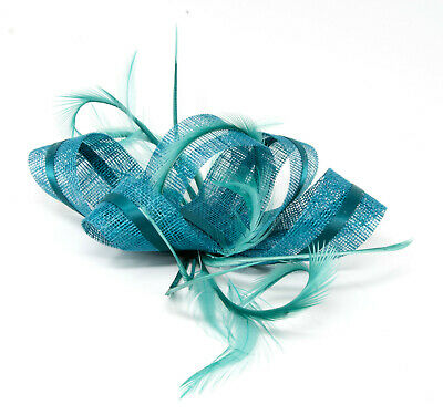 Teal fascinator with ribbon and feathers on a clip, comb and Alice band