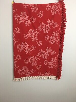 April Cornell Red And White Floral Print French Trimmed Tablecloth 48 X 48