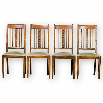 Set of 4 James Shoolbred & Co Arts & Crafts Oak chairs