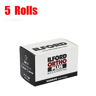 5 Rolls ILFORD Ortho plus 35mm ISO80 135-36EXP Black&White Film Fresh 09/2022