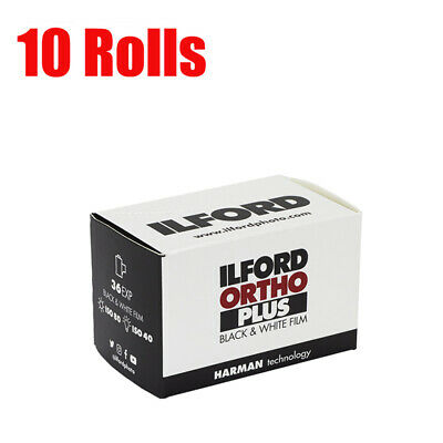 10 Rolls ILFORD Ortho plus 35mm ISO80 135-36EXP Black&White Film Fresh 09/2022
