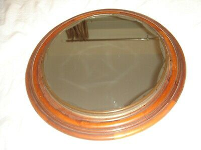antique large mahogany clock face converted to a wall mirror unusual