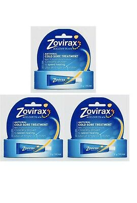 3 x Zovirax Cold Sore Cream Tube 2g Anti Viral Treatment MAC-P Formula
