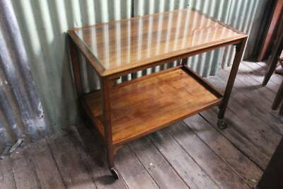 A Vintage Blackwood Auto Drinks Trolley Stand with Glass Inset to Top