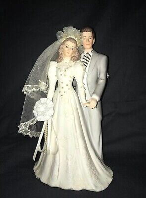 Vintage Bride & Groom MUSIC BOX 80s Wedding CAKE TOPPER Roman Play Wedding March