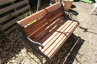 A Vintage Cast Iron & Timber Outdoor Bench Seat