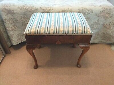 Antique Duck Egg Blue Silk Upholstered Mahogany Piano Bench Bed Ottoman Storage