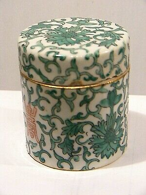 Antique Chinese Porcelain Trinket Box  Tea Caddie