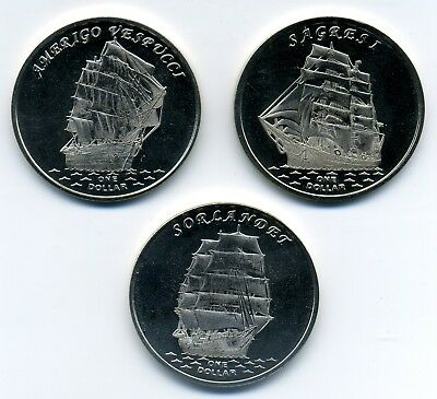 NEW ISSUE 3 DIF 1$ UNC SET 2015 SHIP MARY ROSE BOUNTY GOLDEN H GILBERT ISLANDS