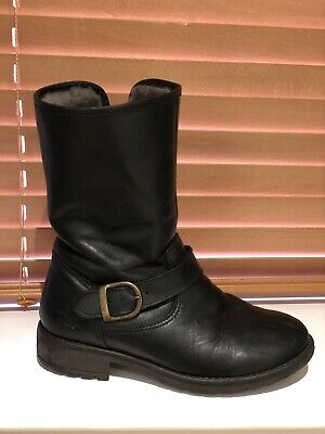 Girls' Russell & Bromley 100% Sheepskin Boots UK 32 Black Leather, Buckle Detail