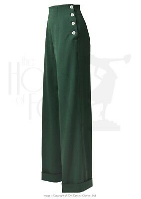 Dancing Days 1940s Repro Wartime WW2 Palazzo Flare Romance Trousers Plus Sizes