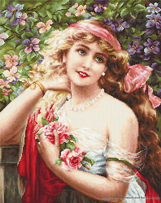 """Luca-S counted Cross Stitch kit """"Young Lady with Roses"""", 28x35,5cm, DIY"""