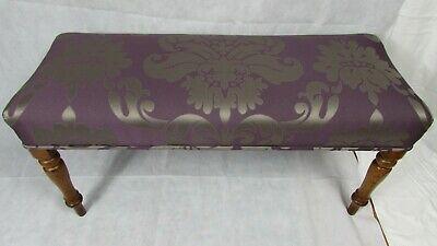 Victorian antique duet piano stool, window seat re upholstered turned legs