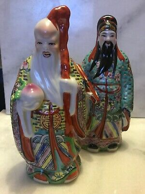 "Pair Of Chinese Japanese Oriental Emperor 10"" Man Vintage Ornament Hand Painted"
