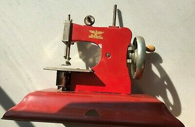 "Vintage Red Casige Child Sewing Machine - British Zone Stamped ""Gesc 1449"""