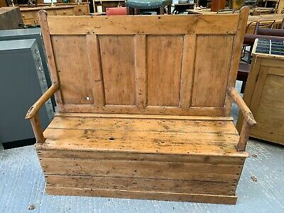 Fabulous Antique Late 18th Century Rustic Pine Country House Settle / Bench