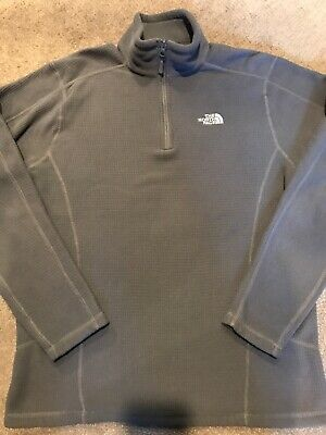 The North Face Charcoal Gray 1/4 Zip Box Knit Fleece Pullover Men's Size Medium