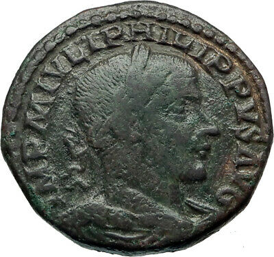 PHILIP I the ARAB 244AD Sestertius Bull Lion Legions Ancient Greek Coin  i44467