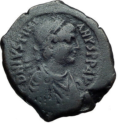 JUSTINIAN I 527AD Follis of Antioch Theoupolis Ancient Byzantine Coin i44191