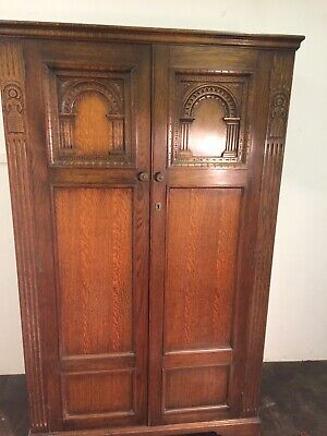 Vintage Oak Wardrobe, double doors with carved panels