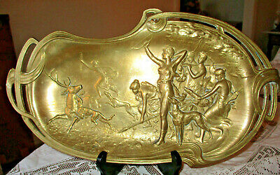 Mcm Art Nouveau Brass Classical Greek Diana Stag Hunting Tray Artist Signed